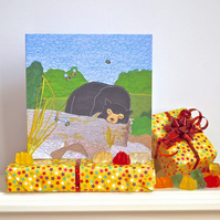 Birthday card - sun bear, zoo, animal