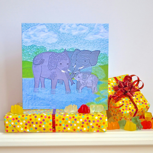 Colourful Elephant birthday card
