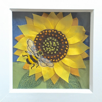 Textile sunflower art - hand embroidered picture flower wall decor bee