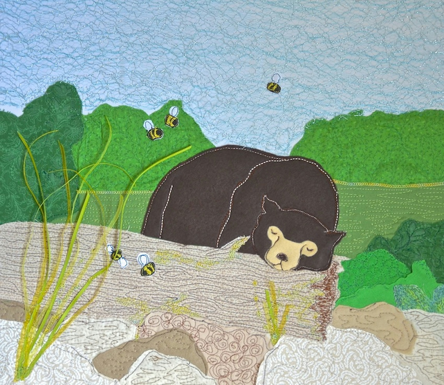 Large Sun bear picture - framed in oak, textile appliqué.