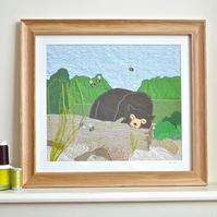 Large Sun bear picture - framed in oak, textile appliqué. With bumble bees.