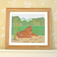 Tiger Tiger textile artwork picture - resting tiger