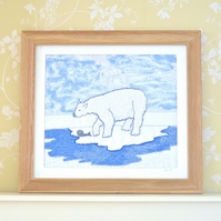Child's Polar bear picture - snow scene cuddly bear