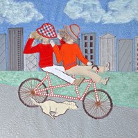 Tandem Fun! picture - bicycle bike cycling textile artwork