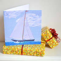 Father's day Sailing boat  card - textile artwork reproduction