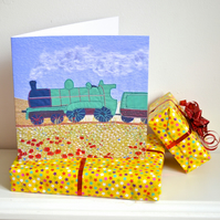 Male birthday card a textile Steam Engine train!