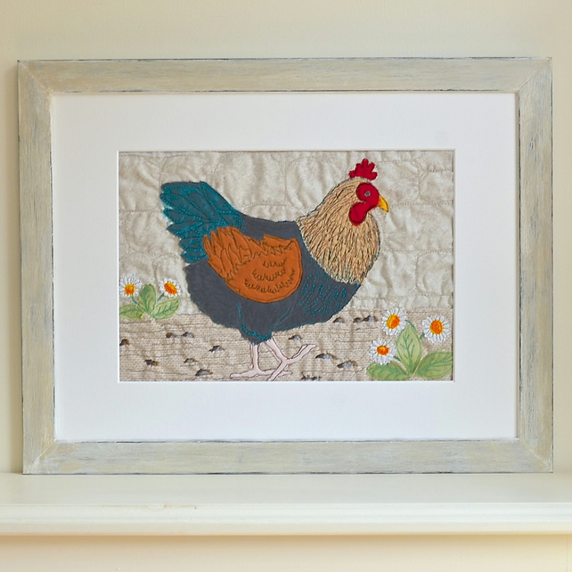 Embroidered Chicken picture - Black Copper Maran - Poultry Hen Bird textile art