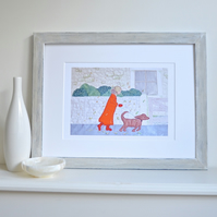 Lady and dog taking an autumn walk picture - 'A Blustery Walk' print