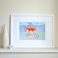 Cycling bike print - Tandem Fun by Heidi Meier - bicycle cycling print