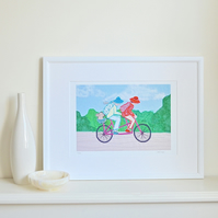 Cycling print -Tandem in the Country by Heidi Meier- bicycle bike cycle picture