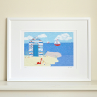 Special offer - Beach hut print - beach hut art picture beach seaside