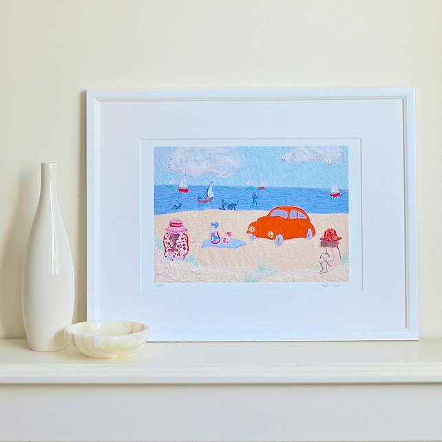 Beach Beetle - seaside car print by Heidi Meier