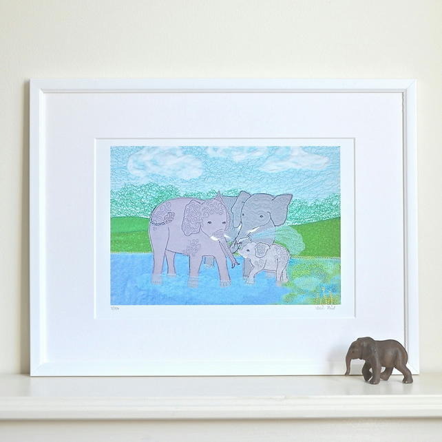 Elephant picture - family elephant print