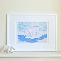Polar bear picture for child's room, bedroom, nursery