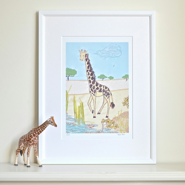 Giraffe picture - giraffe on the savannah scene print