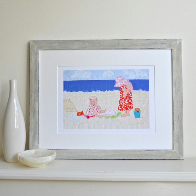 Children on beach with jellyfish picture - seaside themed print