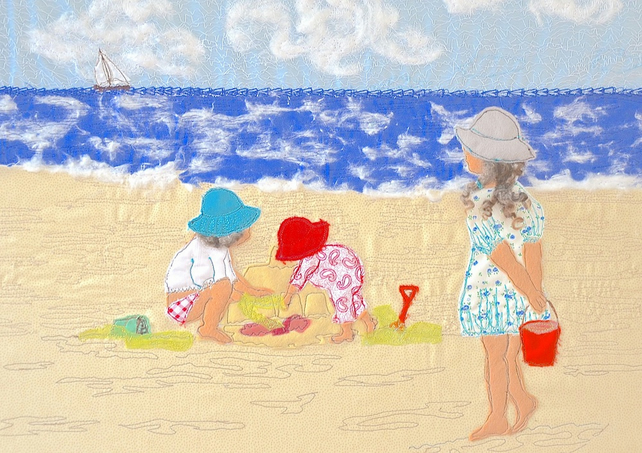 Children playing on beach, seaside picture - print of a textile artwork