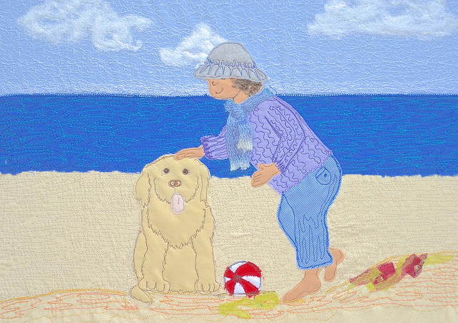 Good boy! picture - dog and child on beach print
