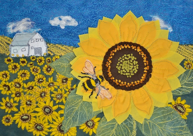 Sunflower and bumble bee picture  - limited edition art print by Heidi Meier