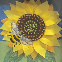 Textile sunflower - hand embroidered art flower wall decor