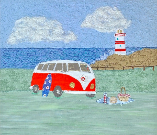 Campervan textile art picture