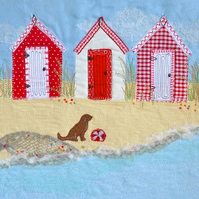 Beach Huts birthday card