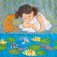 Waterlilies - giclee print with girl, cat and waterlilies