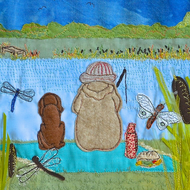 Gone Fishing - giclee print with fisherman, Toby the Dog and dragonflies