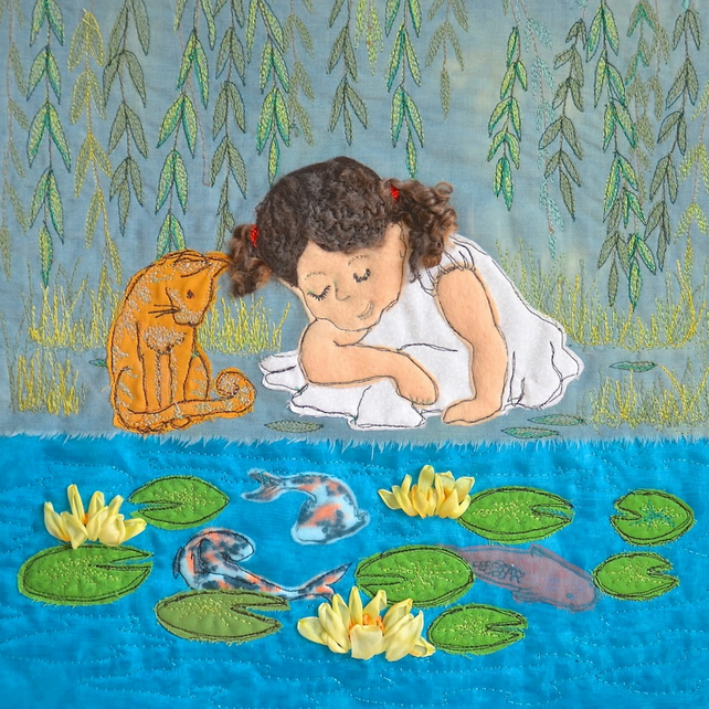 Birthday card - waterlilies, cat and child