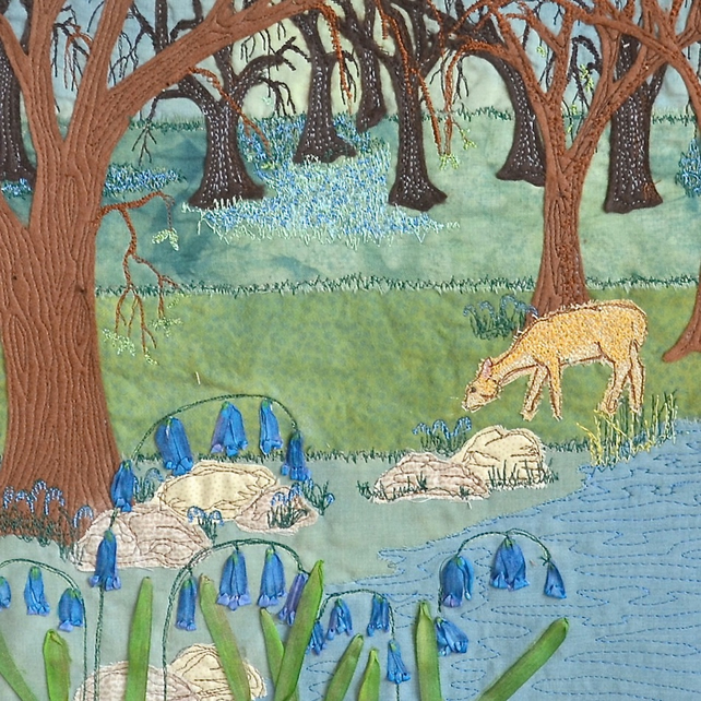 Birthday card - bluebell and deer in woodland