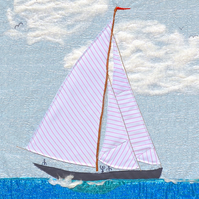 Sea Boat picture A3 - Ahoy there! unframed textile artwork