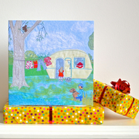 Birthday card - caravan