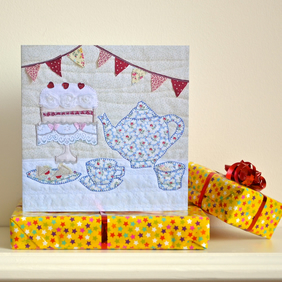 Afternoon tea and cake birthday card with bunting