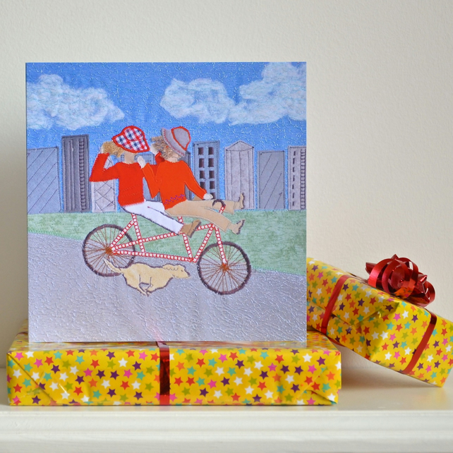 Cycling birthday card - tandem fun