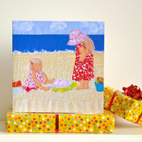 Birthday card - children on beach
