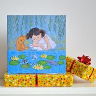 Birthday card - waterlilies, fish, cat and child