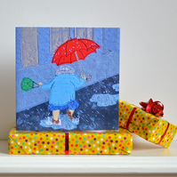 Birthday card - dancing in the rain