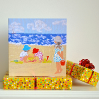 Birthday card - girl on beach