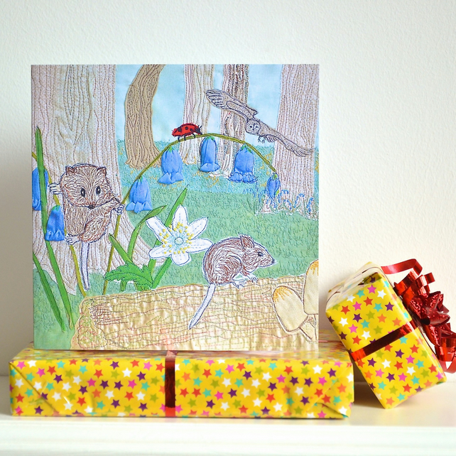 Birthday card - woodland mouse and bluebell