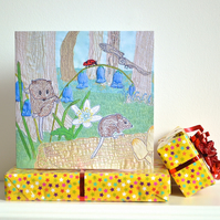 Birthday card - mouse and bluebell