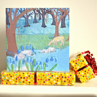 Birthday card - floral bluebell woodland and deer