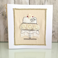 Wedding card - wedding cake hearts
