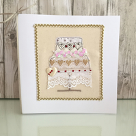 Wedding card - three tier wedding cake hearts