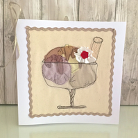 Birthday card - textile ice cream sundae