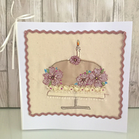 Birthday card - textile silk birthday cake flowers