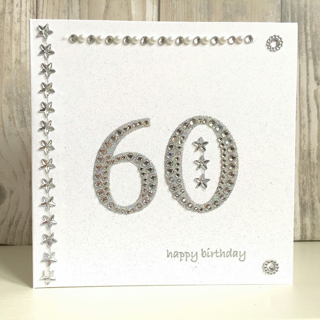 Birthday card - 60 60th birthday jewel 60 handmade