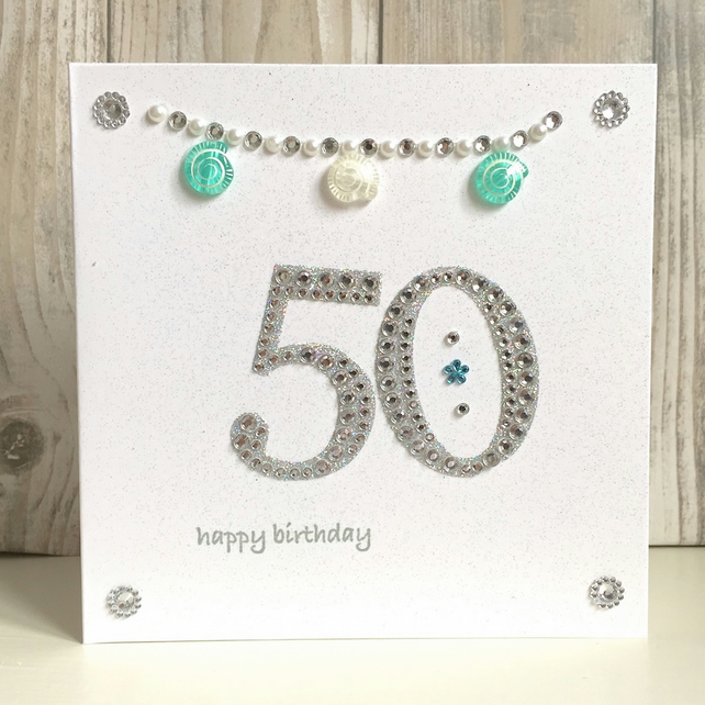 Birthday card - 50th 50  - handmade - milestone ammonite fossil
