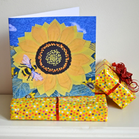 Birthday card - sunflower and bumble bee