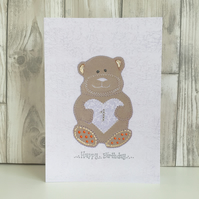1st Birthday card large A5 personalised teddy bear - child's milestone age 1