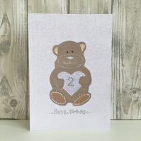 2nd Birthday card - large A5 personalised teddy bear child's milestone 2